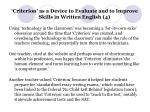 criterion as a device to evaluate and to improve skills in written english 4