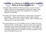 criterion as a device to evaluate and to improve skills in written english 6