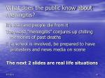 what does the public know about meningitis