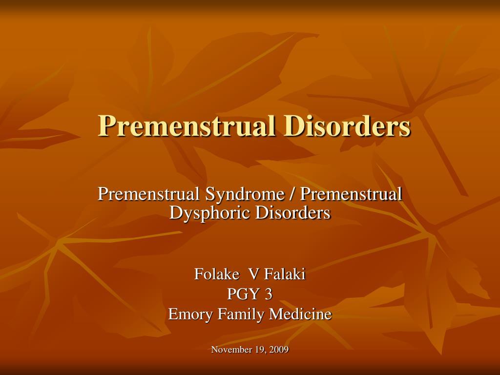 premenstrual disorders l.
