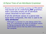 a parse tree of an attribute grammar