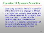 evaluation of axiomatic semantics