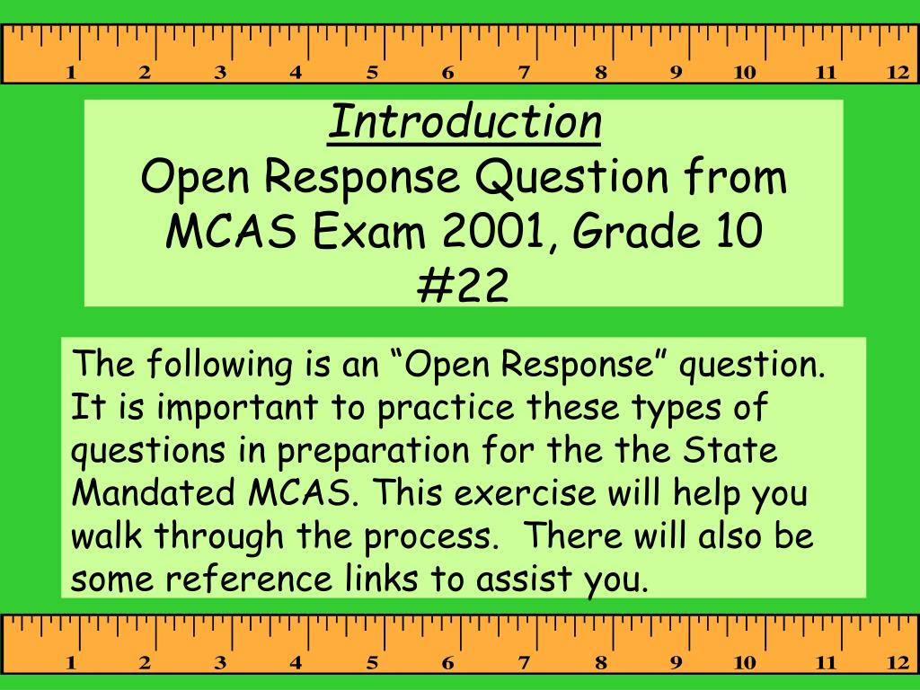 introduction open response question from mcas exam 2001 grade 10 22 l.