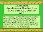 introduction open response question from mcas exam 2001 grade 10 22