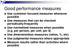 good performance measures