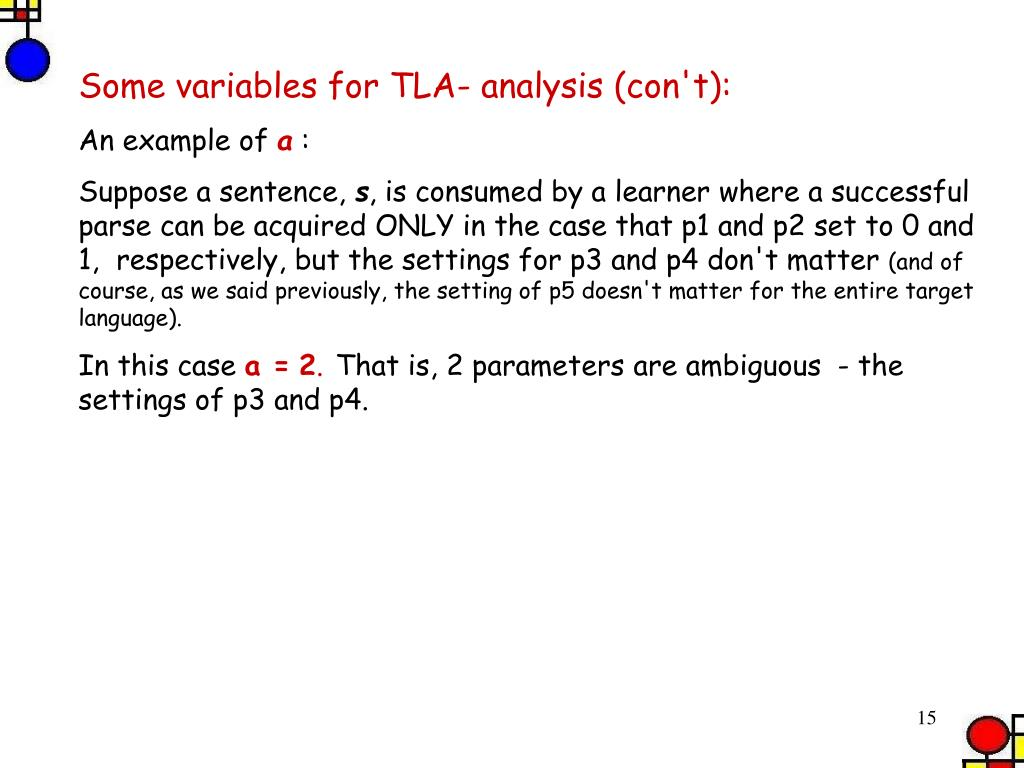 Some variables for TLA- analysis (con't):