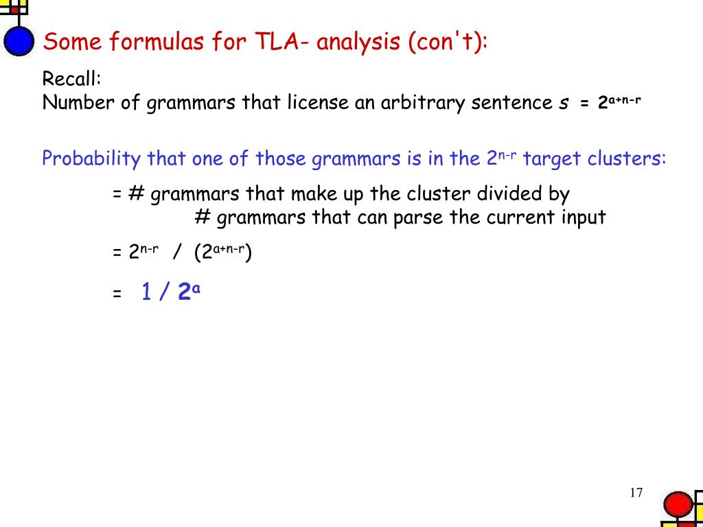 Some formulas for TLA- analysis (con't):