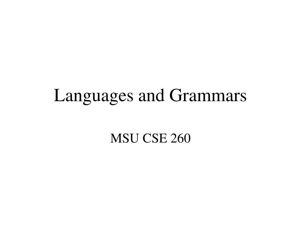 languages and grammars l.