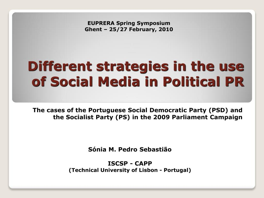 different strategies in the use of social media in political pr l.