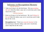inference in recognition memory