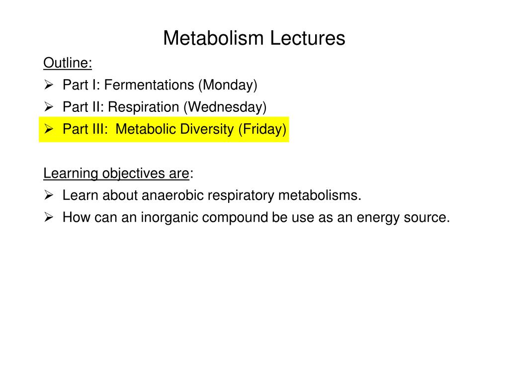 metabolism lectures l.