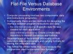 flat file versus database environments