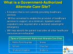what is a government authorized alternate care site