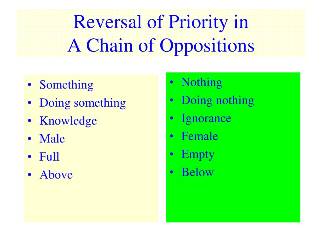 reversal of priority in a chain of oppositions l.