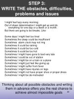 step 3 write the obstacles difficulties problems and issues