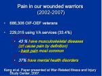 pain in our wounded warriors 2002 2007