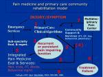 pain medicine and primary care community rehabilitation model