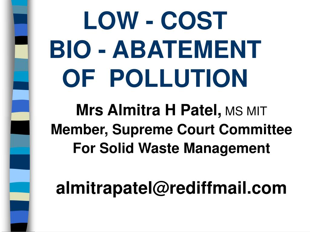 low cost bio abatement of pollution l.