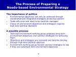 the process of preparing a needs based environmental strategy
