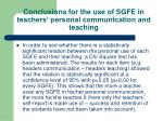 conclusions for the use of sgfe in teachers personal communication and teaching25