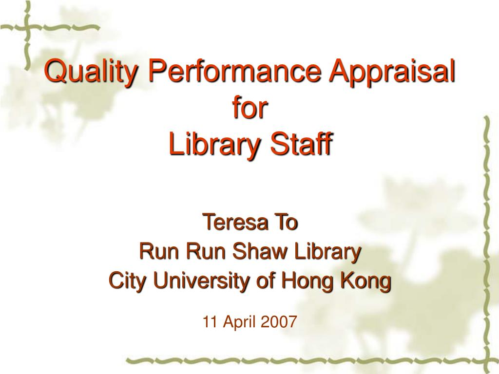 quality performance appraisal for library staff l.