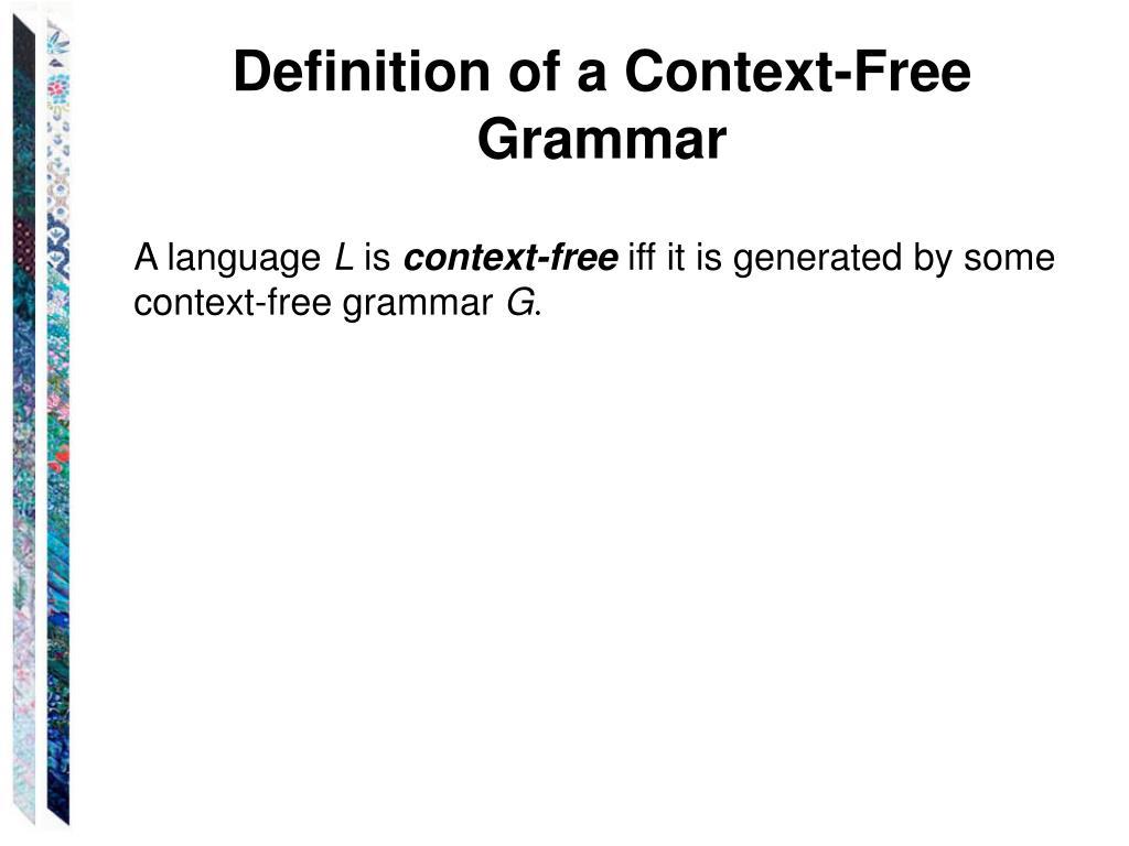 Definition of a Context-Free Grammar