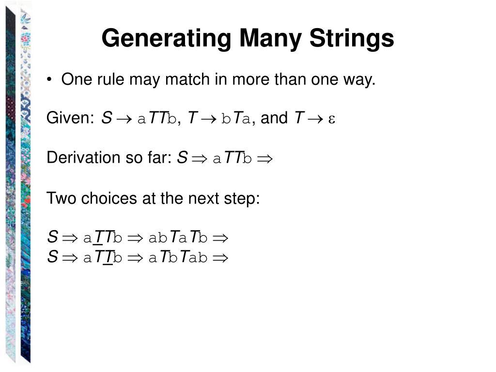Generating Many Strings