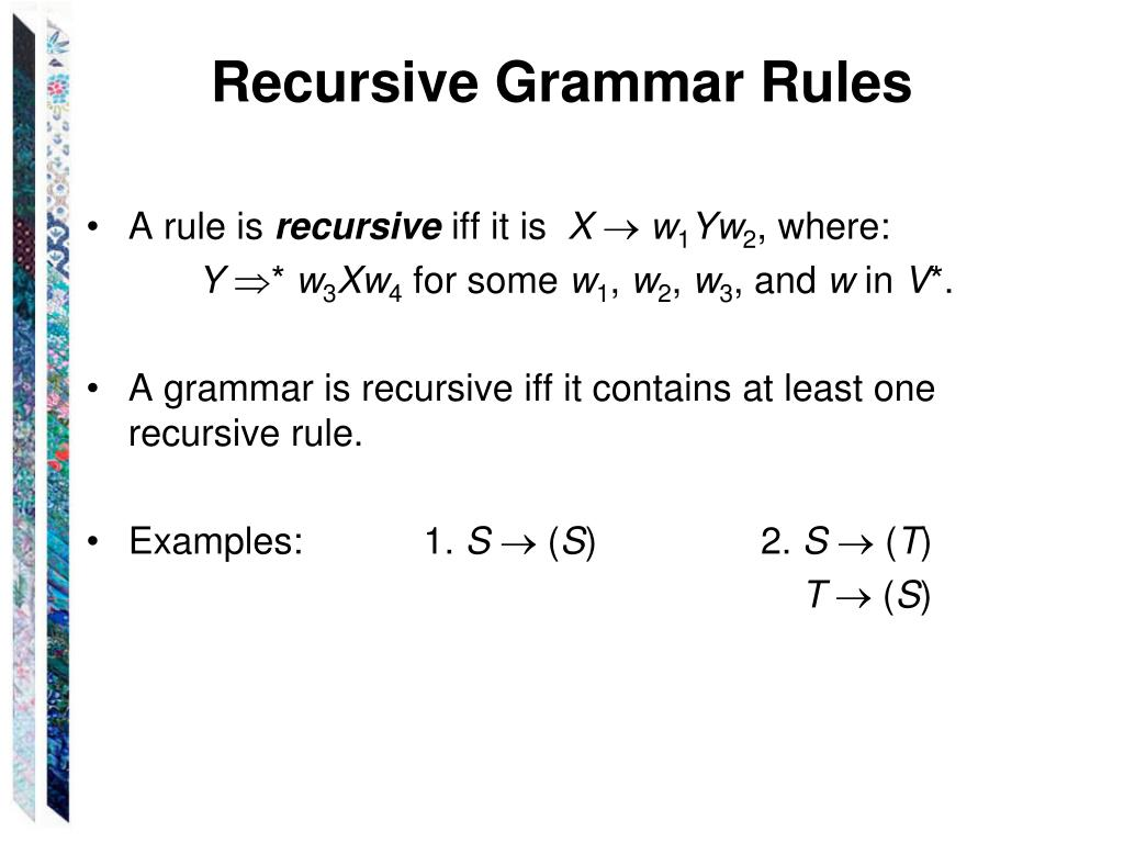 Recursive Grammar Rules