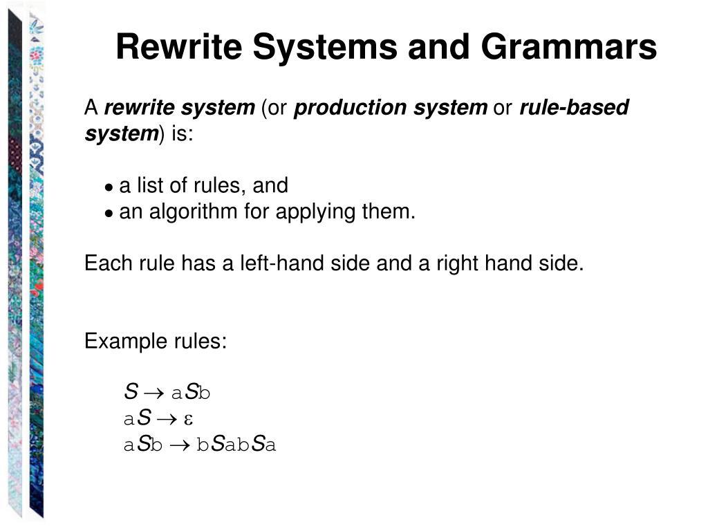 Rewrite Systems and Grammars