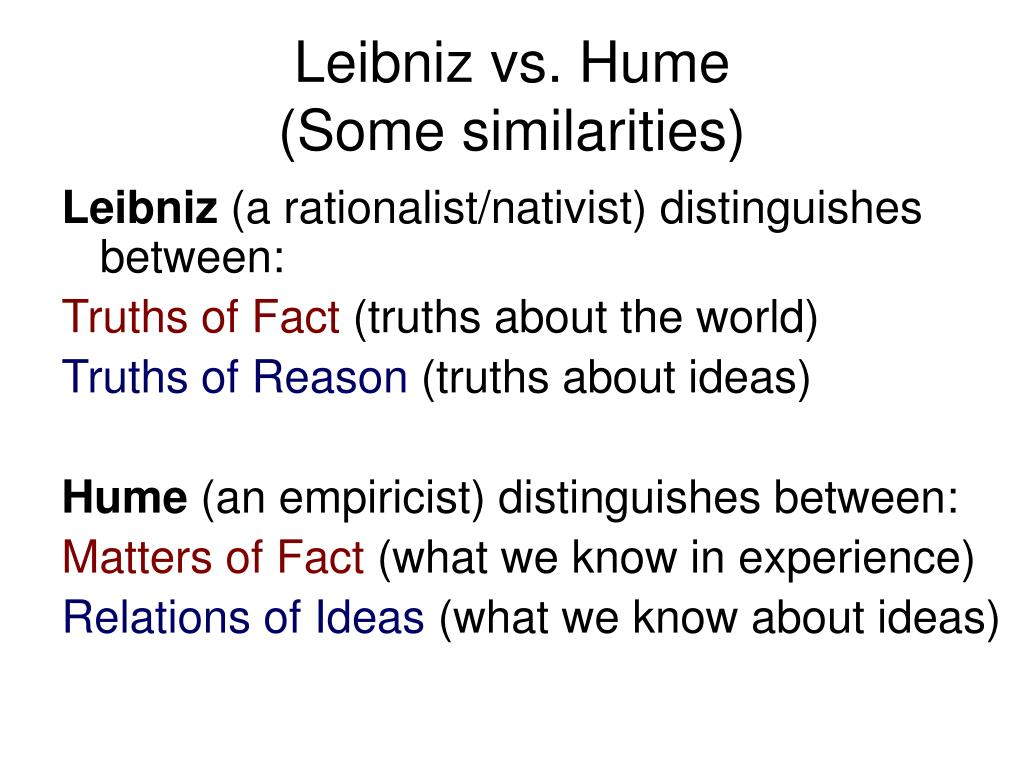 Leibniz vs. Hume