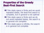 properties of the greedy best first search