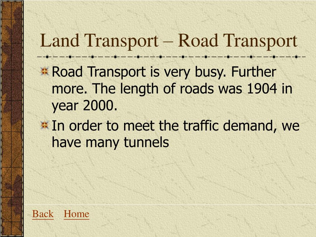 Land Transport – Road Transport