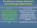 the difference between alzheimer s and normal age related memory