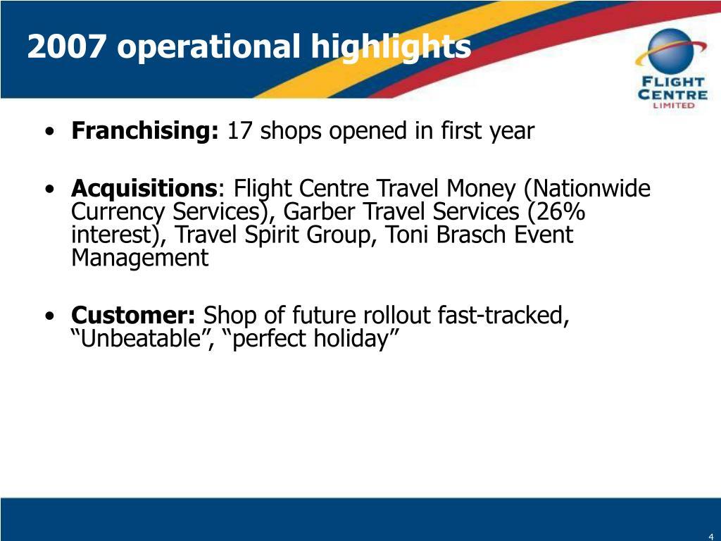 2007 operational highlights
