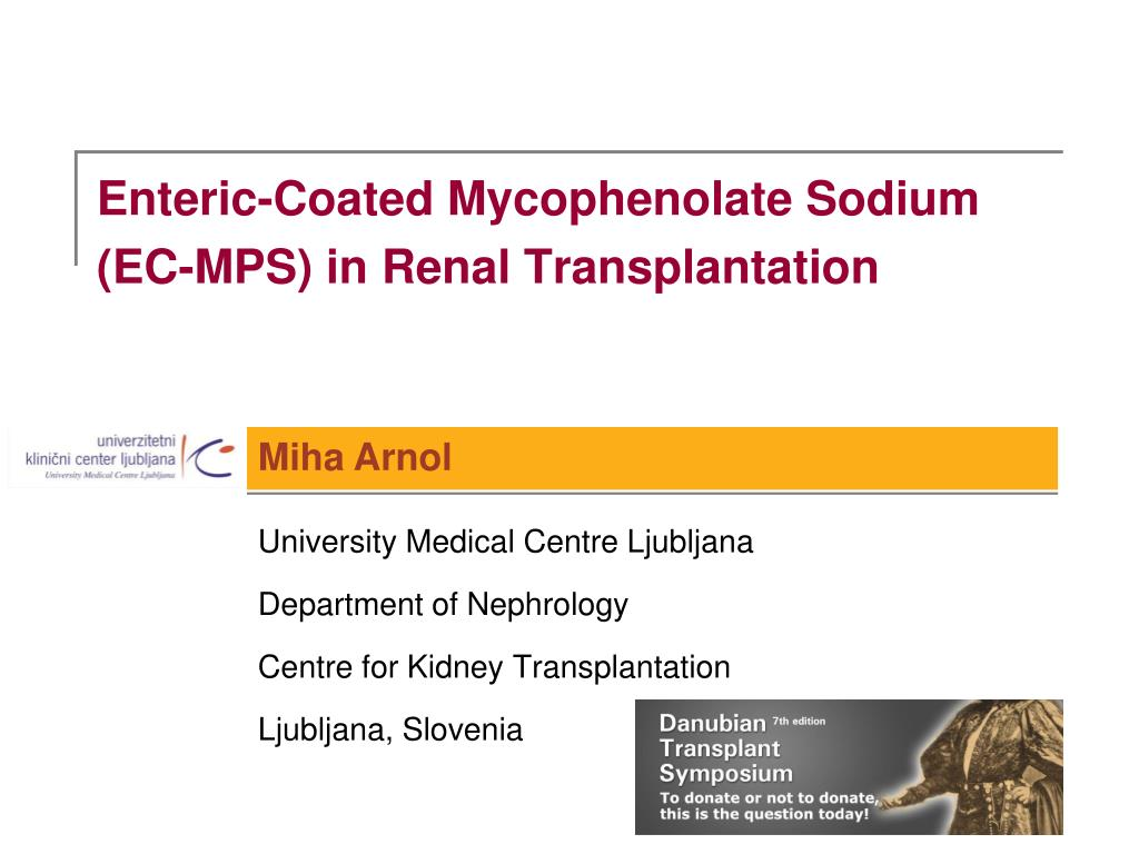 enteric coated mycophenolate sodium ec mps in renal transplantation l.