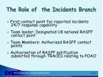 the role of the incidents branch