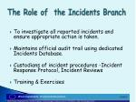 the role of the incidents branch5