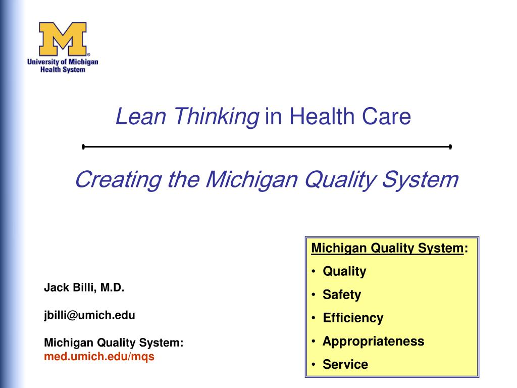 creating the michigan quality system l.