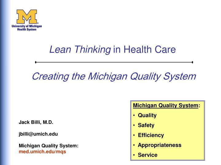 creating the michigan quality system n.