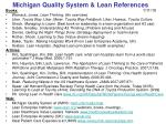 michigan quality system lean references