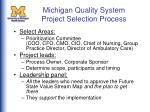 michigan quality system project selection process