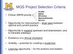 mqs project selection criteria