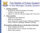 two models of project support in the michigan quality system