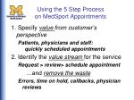 using the 5 step process on medsport appointments