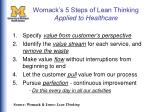womack s 5 steps of lean thinking applied to healthcare