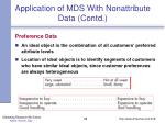 application of mds with nonattribute data contd