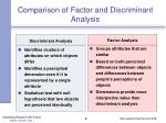comparison of factor and discriminant analysis