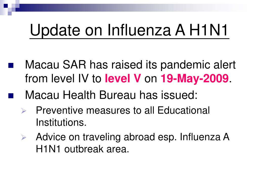 update on influenza a h1n1 l.