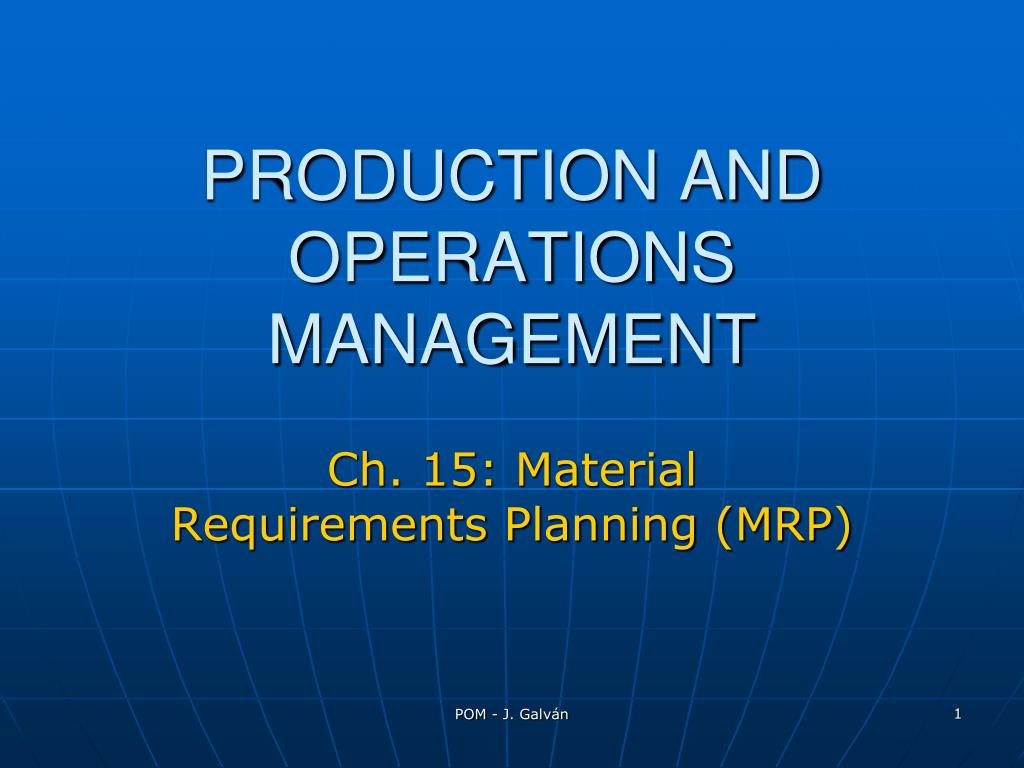ch 15 material requirements planning mrp l.