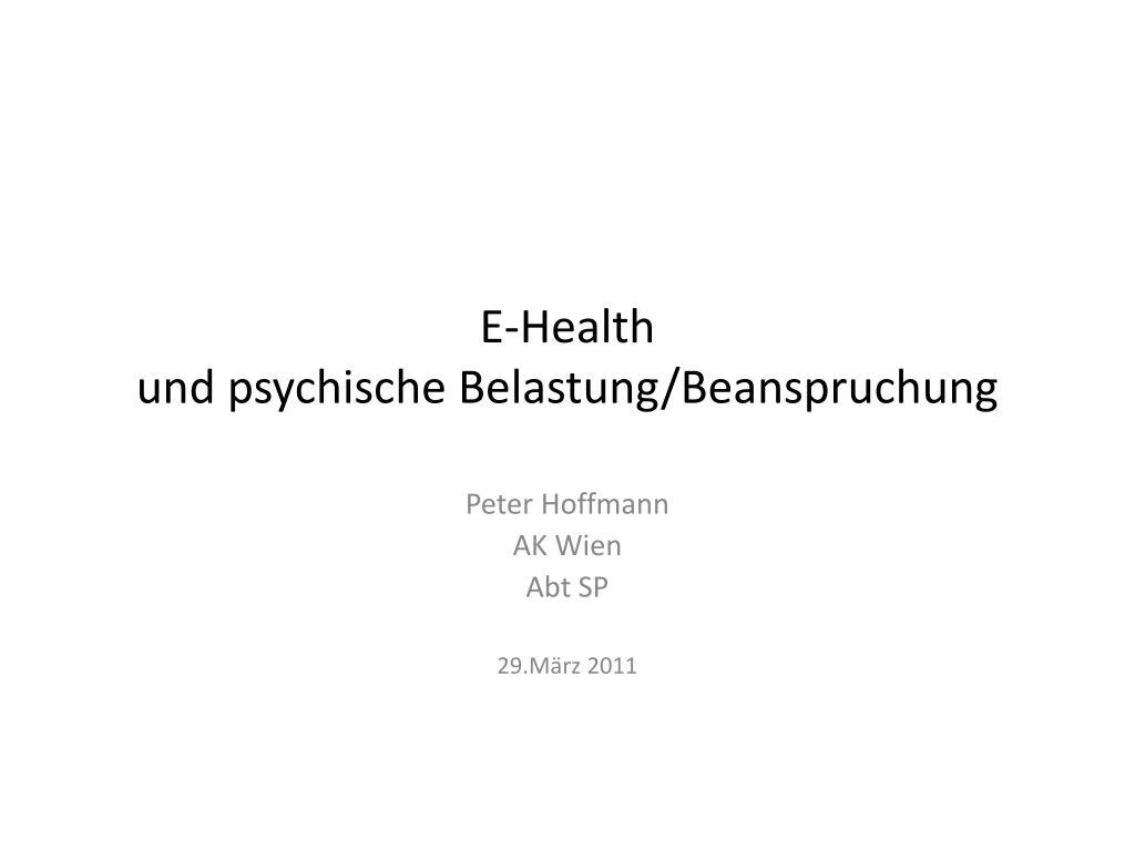 e health und psychische belastung beanspruchung l.